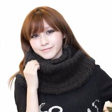 Winter Scarf Female Pullover Warp Echarpes Mohair Women Scarves Knitted Wool Neck Cowl Wrap Shawl Thicken Warm Ring Loop Scarf
