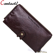 CONTACT'S Men wallets genuine leather wallet men clutch bag coin purse card holder phone men wallet long purse Organizer Walet(China)