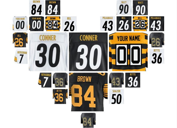 pittsburgh steeler jerseys custom brown antonio roethlisberger james conner black Vapor Untouchable color rush 4xl american(China)