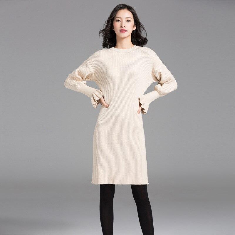 Women Fashion Sweater Dress Casual Butterfly Sleeve Turtleneck Knitted Dresses for Lady Autumn Winter Long Sweaters ClothesÎäåæäà è àêñåññóàðû<br><br>