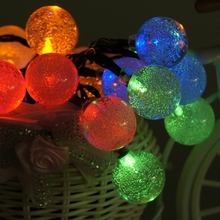 Solar Light Lamp 4.8M 15.75FT 20 Leds Crystal Ball LED Garland String Lights for outdoor Garden Christmas Holiday Decoration