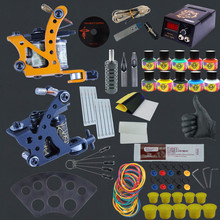 Complete Tattoo Kit Professional Machine Black Gun Kit 6 Colors Pen Tattoo Pigment Tips LCD Power box Supply Beginner Makeup