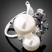 Flower Zirconia  Jewelry White Round Double Imitation Pearl Ring Fashion Rings for Women Jewellery