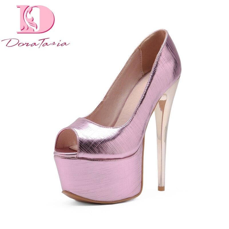 DoraTasia 2018 Large Size 33-48 Peep Toe Thin High Heels Pumps Shoes Woman Platform Slip On Party Wedding Pumps<br>