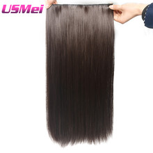 "USMEI 5 clips/piece Natural straight Hair Extention 24""inches 120g Clip in women pieces Long Fake synthetic Hair"