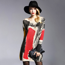 Buy 2017 New Autumn Winter Women Wool Dresses Plus Size Long Sleeves Loose Top Graffiti Print Women Sweater Oversized Knitting Dress for $22.77 in AliExpress store