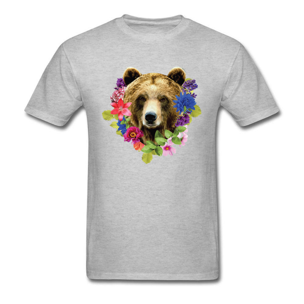 Floral Bearr Mens Fied Classic Tops T Shirt Round Collar Lovers Day Coon T-shirts Summer Short Sleeve Sweatshirts Floral Bearr grey