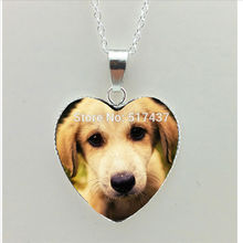 2017 New Dog Heart Necklace Little Dog Heart Pendant Dog Photo Jewelry Women Heart Shaped Necklace HZ3