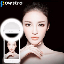 POWSTRO K Portable LED Ring Selfie Light Night Darkness Lamp for Selfie Enhancing Photography Flash for iPhone 5 6s Plus Samsung