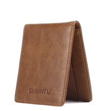 Gubintu famous brand luxury retro men's business card holder female original genuine leather fashion designer purse for women(China)