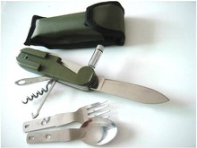 Army Green Folding Portable Stainless Steel Camping Picnic Cutlery Knife Fork Spoon Flatware Tableware Travel Kit