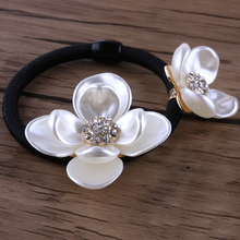 1PC Korean Style Girl Rhinestone Hair Rope Pearl Shell Flower Elastic Headband Rubber New