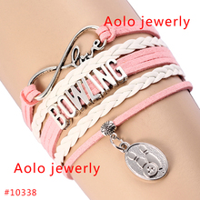 6Pcs/Lot Bowling Infinity Love Bracelet With Bowling Charms Pink & White Leather Bracelet Customized Bracelet Free Shipping!(China)