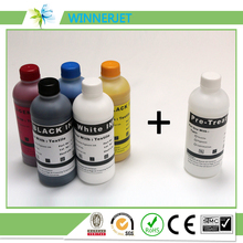 1 liter package!!! textile ink dtg  (2 WH+K C M Y) +pretreatment liquid for epson  l800 1390 f2000 l1800 garment printer tinta