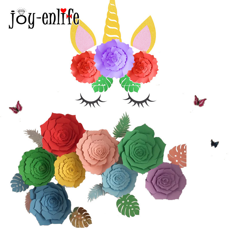 Joy Enlife Unicorn Party Diy Felt Horn Ear Eyelash Backdrop