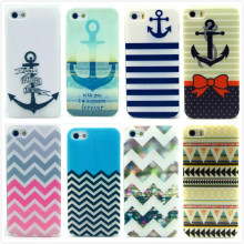 Cartoon Cute with Stripe Anchor Print Soft TPU Silicone Case for Apple iPhone 5 5S 5G Cell Phone Protective Cover