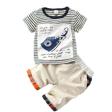 Brand Toddler Boy T-shirt Suit 3D Pattern 2017 Summer Fashion Boys Clothing Sets Kids Sport for Boys Children Striped Sets
