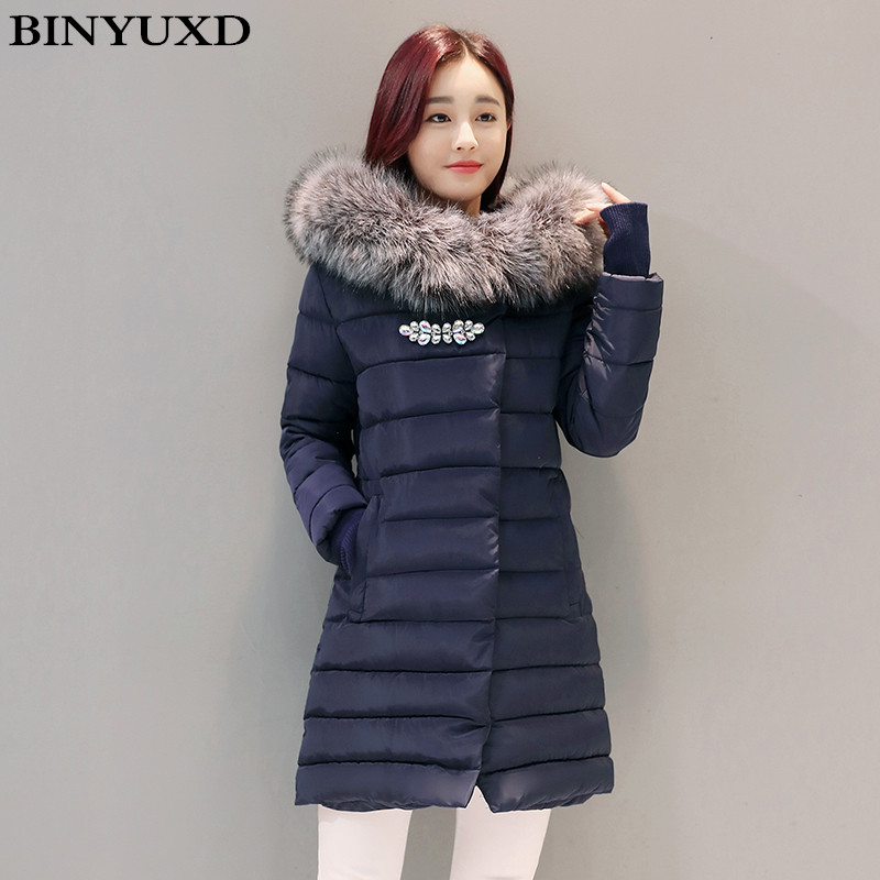 BINYUXD New Winter Jacket Women Long Slim Large Fur Collar Hoode Women Down Cotton Jacket Thick Female Wadded JacketÎäåæäà è àêñåññóàðû<br><br>