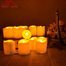 Led Votive Tea Light Candles Yellow Flame Flameless Tealight Candle Wholesale for Church Ceremony - Set of 12(China)