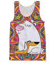 Women Men 3d Totally 90s 2 Stupid Dogs Tank Top american cartoon Network Little Dog and Big Dog Jersey Vest tanks(China)