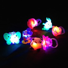 10pcs/lot Random Kids Toy  LED Flashing Light Ring Blinking Party Soft Rave Glow Jelly Finger Rings