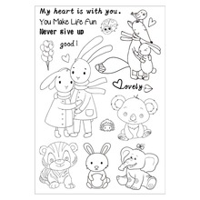Cartoon Cute Animals Clear Silicone Rubber Stamp for DIY Scrapbooking/photo Album Decorative Craft Clear Stamp Chapter(China)