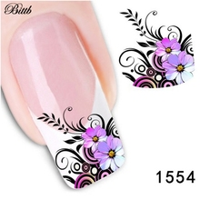 Bittb DIY Nail Decals Light Purple Flowers Fingernail Beauty Makeup Nail Art Adhesive Foils Manicure Make Up Tool Nail Stickers(China)