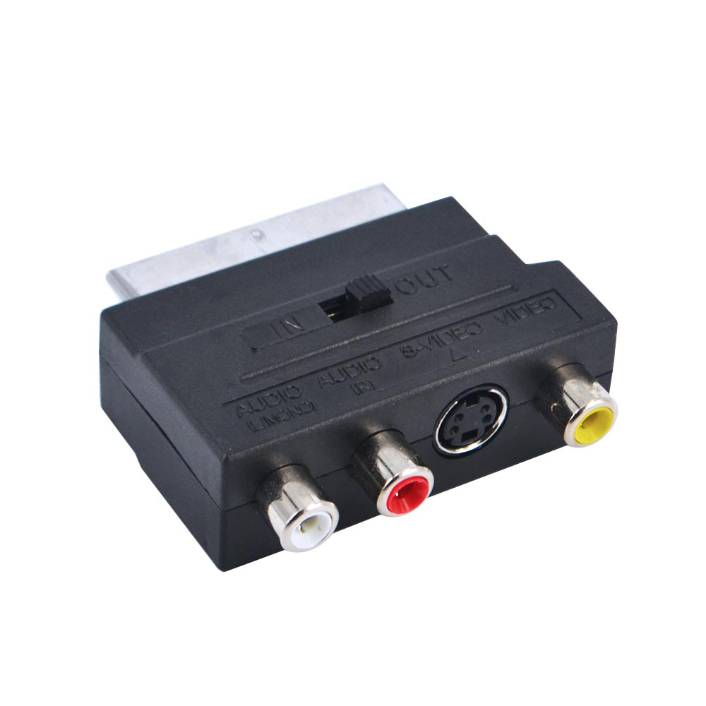 Hot Selling RGB Scart to Composite RCA S-Video AV TV Audio Adapter Black Color Converter / Connector(China (Mainland))