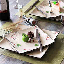 Western Plate Flat Plate Steak Dish 10-inch Creative European - style Ceramic Tableware Square Dishes Creative Fruit Plate Gife
