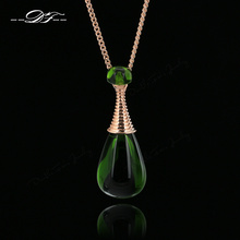 Unique Green Rhinestone 'Perfume Bottles' Vintage Necklaces & Pendants Water Drop Crystal Jewelry For Women colares DFN225(China)