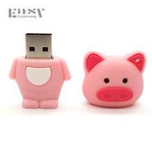 Easy Learning Cartoon Model For Pig Pen Drive 4GB 8GB 16GB 32GB For Minions Zoo Animals USB Flash Drives Pendrive Toys Gifts(China)