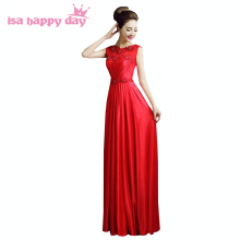 fashion beauty red bridesmaid elegant scoop dress bridemaides womens brides maid long dresses for wedding guests H2581