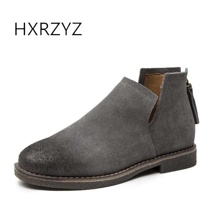 HXRZYZ women ankle boots suede genuine leather boots new fashion female autumn rubber bottom slip-resistant womens lazy shoes<br>