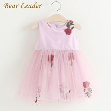 Bear Leader Girls Dress 2017New Summer Children Clothing Rose Princess Mesh Ball Gown Fashion Casual Ribbon Belt Kids Clothes