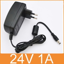 1PCS 24V1A AC 100V-240V Converter Adapter DC 24V 1A 1000mA Power Supply EU Plug  5.5mm x 2.1-2.5mm  Free shipping