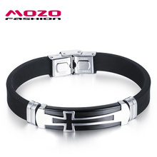 MOZO FASHION Men's Stainless Steel Silicone Cross Bracelet Rubber Wristband Punk Bracelets Cool Men Jewelry Accessories MPH1077(China)