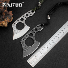 XITUO EDC Utility Paring Knives Mini sharp stainless steel real axe black/White Handmade Forged key chain pocke knife Defense