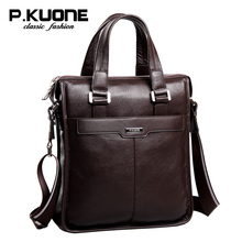 P.Kuone Male shoulder bag genuine leather man bag cowhide handbag casual messenger bags(China)