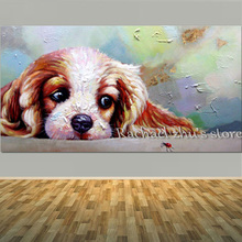 Hand Painted Cute Puppy Oil Painting On Canvas Animal Art Thick Textured Lovely Dog Wall Picture For Home Decoration Wall Decor(China)