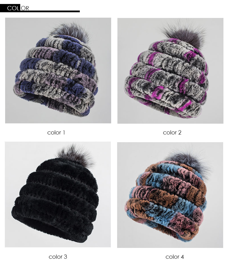 Pudi HF7062 2017 New Hat Women Rabbit Fur Fur Hat A Variety Of Color ...
