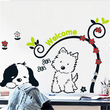 Cute Animal Welcome DIY Dog Cat Mural Pet shop Spa Grooming Salon Veterinary Wall Decal Wall Stickers Vinyl Art Home decor HF87