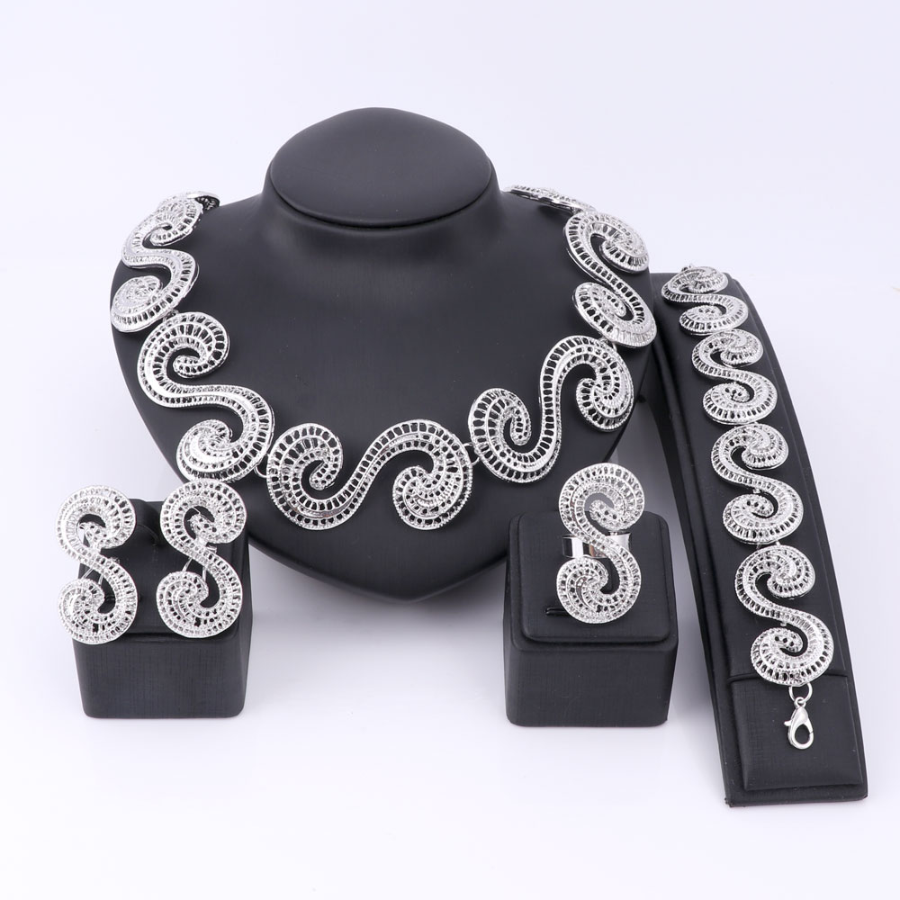Fashion Dubai Jewelry Set Silver Plated Nigerian Wedding African Beads China Clouds Necklace Earring Bracelet Ring Bijoux Femme(China (Mainland))