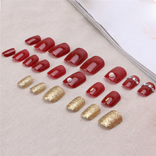 New 24 Pcs Acrylic Fake Fingernails Full Cover Fake False Dark Red Nail Art DIY  tools Hot Sale