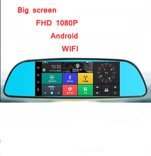 "Best 7"" Touch GPS dvr mirror 1GB RAM 16GB ROM 2 Split View Android Mirror Car DVR Dual Lens Camera Rear Parking WiFi FM"