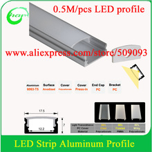 EMS post 0.5M/pcs led profile 6pcs/lot free shipping with milk/frosted/clear cover