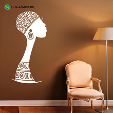 Africa African Girl Wall Decal Vinyl Stickers Beauty Salon Interior Home Design Wall Art Murals Bedroom Decor Mirror Poster A92(China)