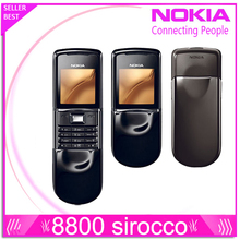 Original Nokia 8800 sirocco 128MB phones English / Russian keyboard GSM FM Bluetooth Phone Gold Silver Black One year warranty(China)