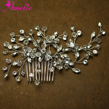 Fashion Wedding Accessories Charm Imported CZ Stones and Crystal Bridal Hair Comb Wedding Decoration Hair Jewelry(China)