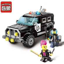 185Pcs Enlighten Bricks City Series Police Swat Car Building Block sets Bricks Toys For Children Compatible With Brand Brinquedo(China)