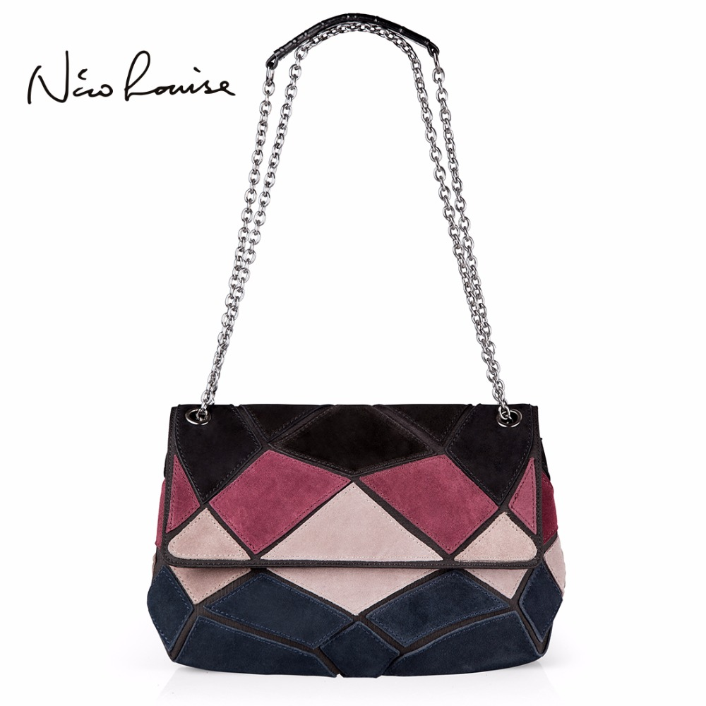 2017 Women Real Suede Leather Shoulder Bag Fashion Lady Patch-color Chain Crossbody Purse Bolsa Female Messenger Handbag Bolsa <br>